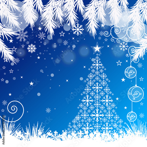 Christmas Tree with Blue Snowy Background - 179712132