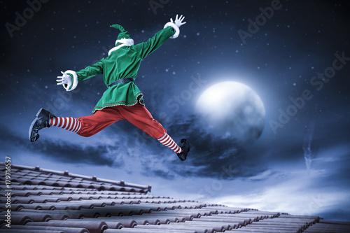 winter night and christmas elf