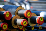 District heating - insulated pipes District heating is a system for distributing heat generated in a centralized location for residential and commercial heating requirements. - 179730150