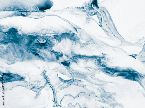 Blue marble abstract hand painted background - 179732183