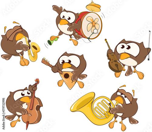 Papiers peints Chambre bébé Set Cartoon Illustration. A Cute Owl in Different Poses for you Design.Musicians