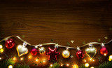 Golden Christmas Tree decoration on wooden background - 179742776