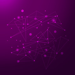 Abstract polygonal purple background with connecting dots and lines. Connection structure. Vector science background