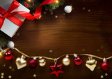 Christmas greeting card background; holidays composition on wood background with copy space for your text - 179746303