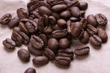 cracked grains of black fried coffee