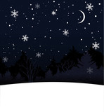 Christmas card with blank space for text. Blue night sky, falling snow and trees silhouette.