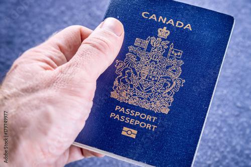 Foto op Plexiglas Canada Hand holding a canadian passport
