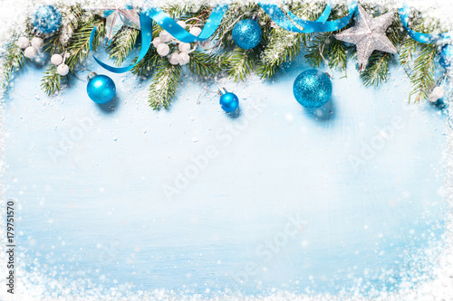 Christmas background on blue.