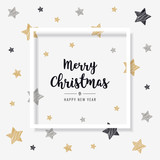 christmas greeting frame card scribble stars golden black background - 179754110
