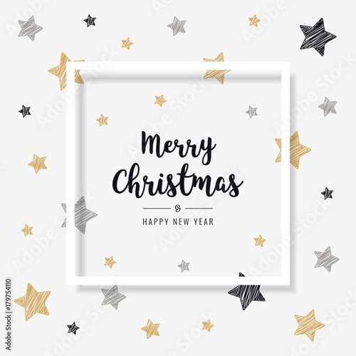 christmas greeting frame card scribble stars golden black background - 179754110