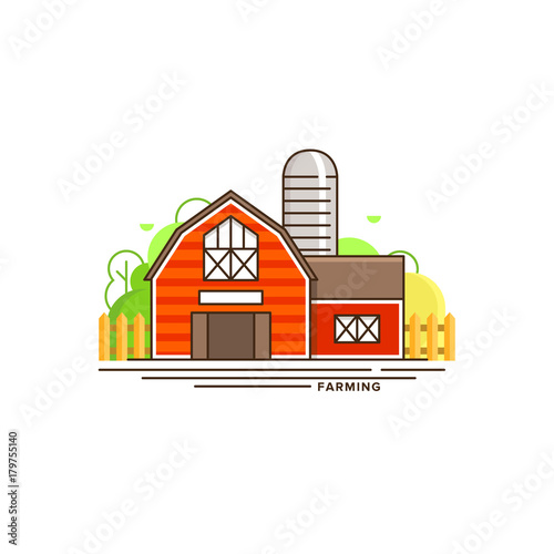 Aluminium Boerderij Red farm building vector flat illustration isolated on white background. Eco farming icon, logo flat vector concept with a house and landscape linear style illustration
