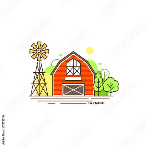 Fotobehang Boerderij Red farm building vector flat illustration isolated on white background. Eco farming icon, logo flat vector concept with a house and landscape linear style illustration