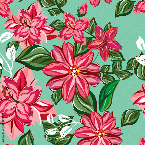 vector seamless pattern flowers and floral pattern illustration - 179755167
