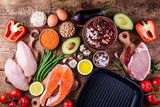Healthy food cooking. Meat, fish, vegetables,pan for cooking grill. Healthy eating concept. Top view - 179755556