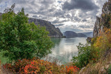Autumn at the Danube Gorges, border between Romania and Serbia - 179757935