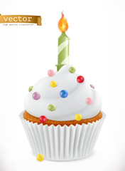 Festive cupcake with candle. 3d realistic vector icon