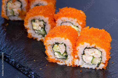 Papiers peints Sushi bar Sushi roll with. Japanese food. 17