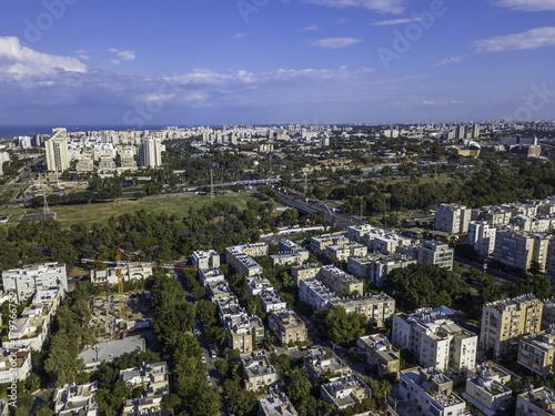 Fotobehang Parijs Park Tzameret akirov is a newly built residential neighborhood of Tel Aviv israel apartment buildings, surrounded by green space panoramic view Kikar Hamedina