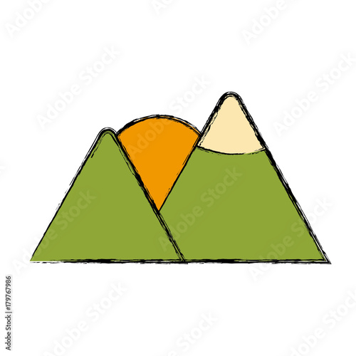 Foto op Canvas Wit Mountains and sun icon vector illustration graphic design