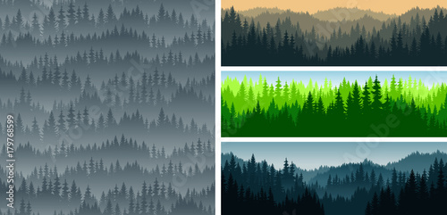 set of vector mountains forest woodland background texture seamless pattern