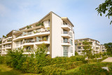 Modern residential buildings, new apartment houses with green outdoor facilities in the city - 179775794
