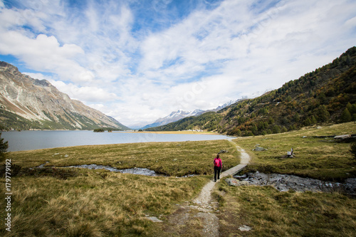 hiking in the engadin at lake sils Poster