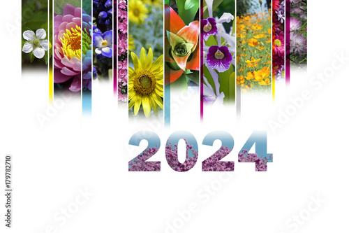 Poster 2024 with floral motif very cheerful and colorful