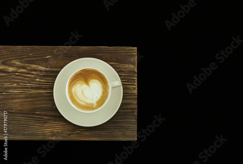 Papiers peints Cafe Hot coffee cafe latte on wood table