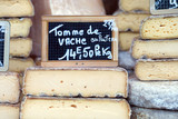 French cheese on counter of market place - 179792540