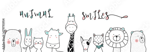 cute cartoon sketch animals for t-shirt print, textile, patch, kid product,pillow, gift.vector illustrator - 179793954