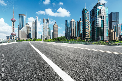 Shanghai Lujiazui financial district commercial buildings and asphalt road scenery,China © zjk