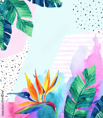 Watercolor exotic flowers, leaves, grunge textures, doodles. - 179796799