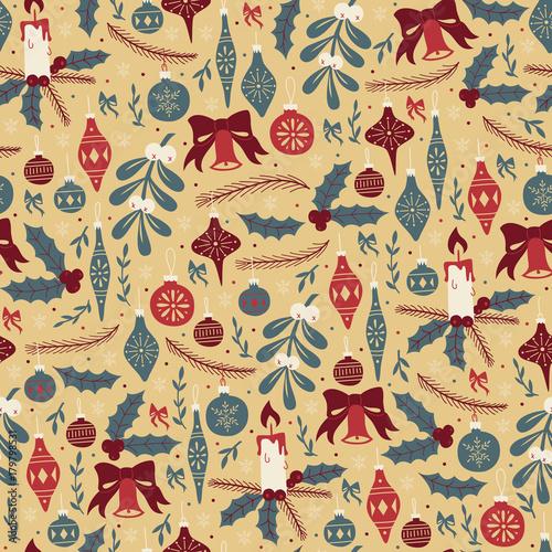 Cotton fabric Christmas Seamless Pattern with Christmas Balls and Mistletoe.