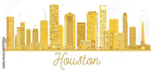 Houston USA City skyline golden silhouette. - 179799126