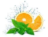Orange splash water and mint isolated on white