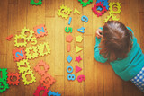 little girl learning numbers, education concept - 179801956