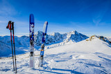 Ski in winter season, mountains and ski touring backcountry equipments on the top of snowy mountains in sunny day. South Tirol, Solda in Italy. - 179803708