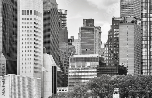 Foto op Canvas New York Black and white picture of downtown New York.