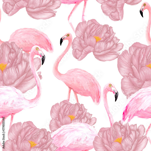 Flamingos seamless pattern - 179805546
