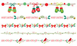 Seamless Christmas decorative borders vector illustration set. - 179805714