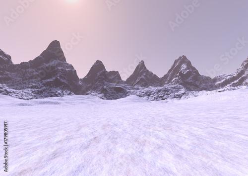 Fotobehang Purper 3D Rendering Misty Mountains