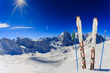 Ski in winter season, mountains and ski touring backcountry equipments on the top of snowy mountains in sunny day. South Tirol, Solda in Italy. - 179806935