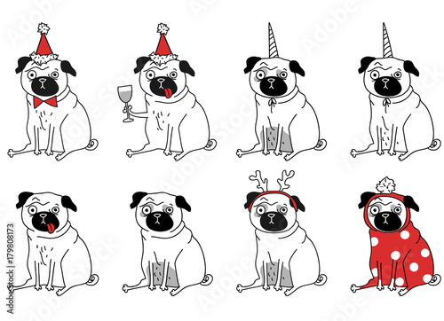 Aluminium Hipster Hert funny drawings of pugs. New Year pugs in different suits. Vector illustration