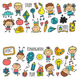 Kids Drawing Kindergarten School Happy Children Play Illustration For Kids Nursery Preschool Children Icon Wall Sticker