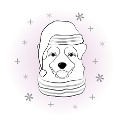 Head of dog in winter hat and scarf on snowflakes background. Pet in winter suit. Hand draw sketch of australian shepherd. Coloring page for children and adults. Vector illustration.