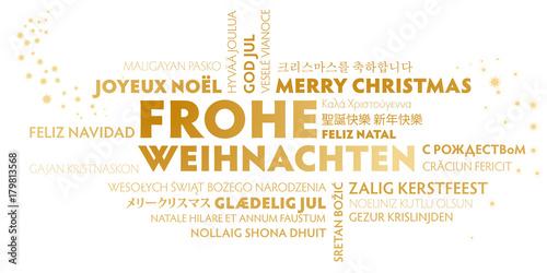 Weihnachtskarte Frohe Weihnachten multilungual Weißgold - 179813568