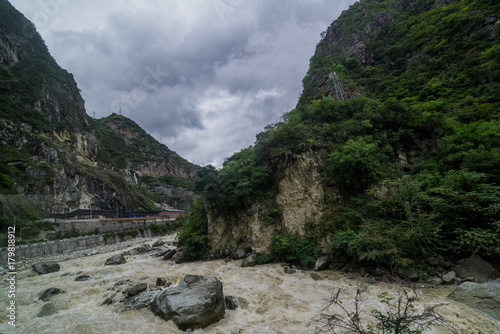 Fotobehang Bergrivier river in valley and mountain in countryside of China