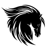 Black horse profile head with long mane vector design - 179819595