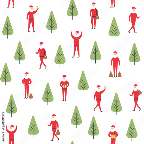 Cotton fabric Seamless christmas pattern. Vector santa claus and tree illustration.