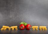 Raw Italian pasta on a stone table - 179821504